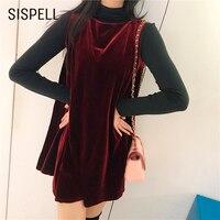 SISPELL Sukienka Vintage Welur Jednolity Kolor Linii Ubrania Dla kobiet Ubiera się O Neck Bez Rękawów Mini Elegent Bluzki Wiosna 2018 nowy