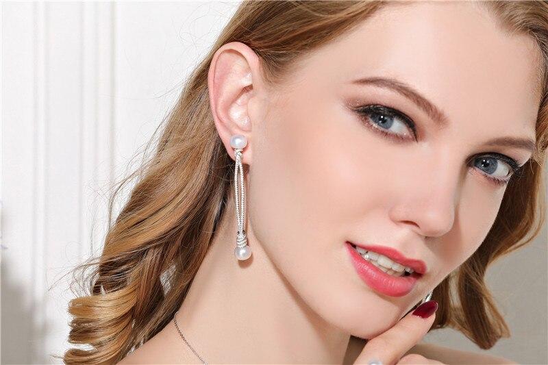 Luxury Monaco Brannd Long Knot Double Pearl Charm Earrings 100% 925 sterling silver zircons Earrings brincos para as mulheres палантин venera venera ve003gwaduy7