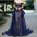 2017 Escuro Azul Royal Off The Shoulder Querida Bordado de Manga Curta A Linha de Vestidos de Noite com Overskirt