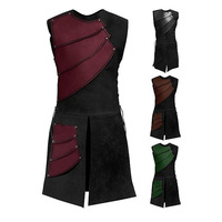 Sleeveless Side Straps Round Neck Stitching Men's Medieval Clothing Stage Wear Performance Costume Festival Wear Singer Dress