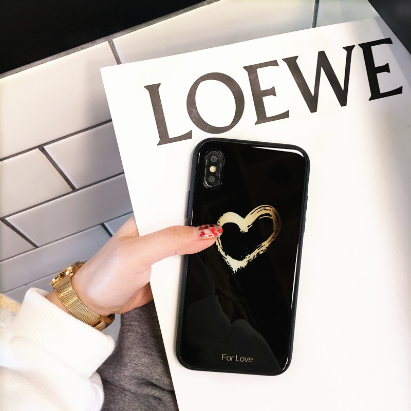 BONVAN Tempered Glass Case For iPhone X Lovely Heart Hard Back Cover Soft Silicone Bumper For iPhone 7 6S 8 Plus 6 Plus Cases16