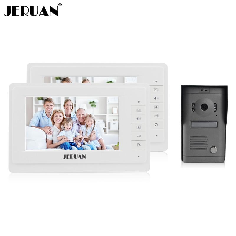 JERUAN 7 inch video door phone intercom system video doorbell rain cover doorphone speaker intercom