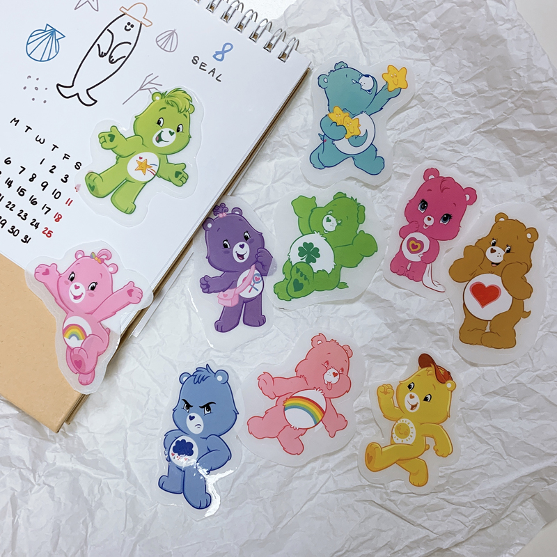 2card 10bear In 1 Card 15*30cm PVC Care Bear Sticker Japanese Cartoon Star Tattoo For Travel Model Sticker On Box Computer