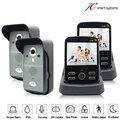 2.4Ghz wireless video porterio sem fio door camera bell video door phone 2 monitor 2 cameras