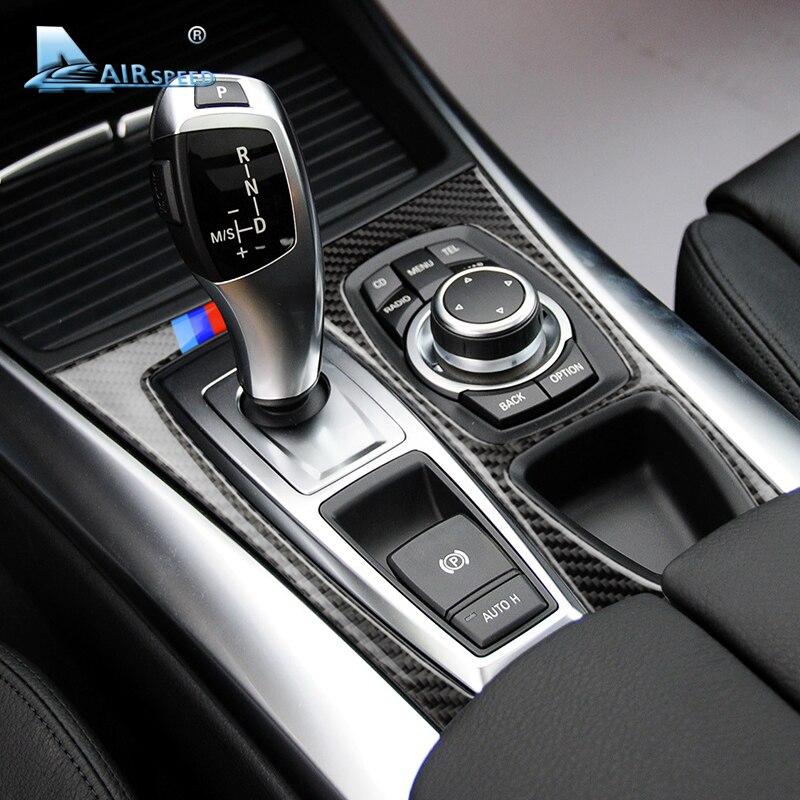 Velocidade De Fibra De Carbono alavanca de Câmbio Do Carro Tampa Moldura Do Painel LHD para BMW E70 X5 E71 X6 Decorações 2008-2013 Acessórios estilo do carro