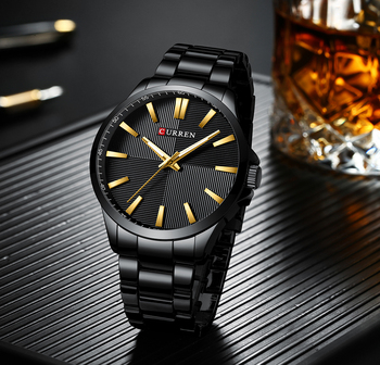 CURREN Men's Stainless Steel Luxury Business Hour Waterproof Quartz Watches  2