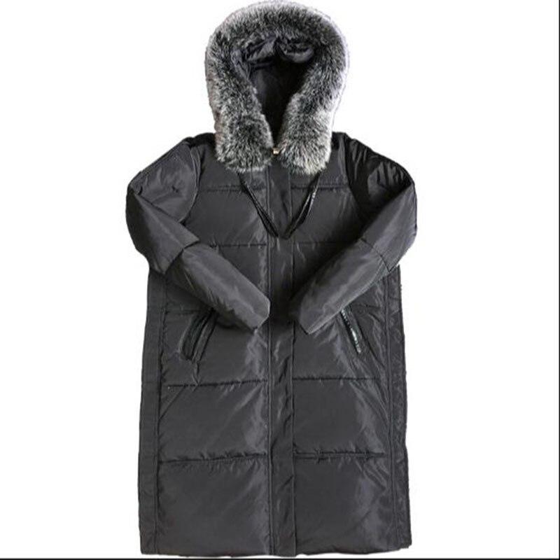 Long Down Coat Real Fox Fur Fashion Hooded Parka Winter Jacket Women 2017 90% White Duck Down Parka Plus Size 5XL Outwear AC347