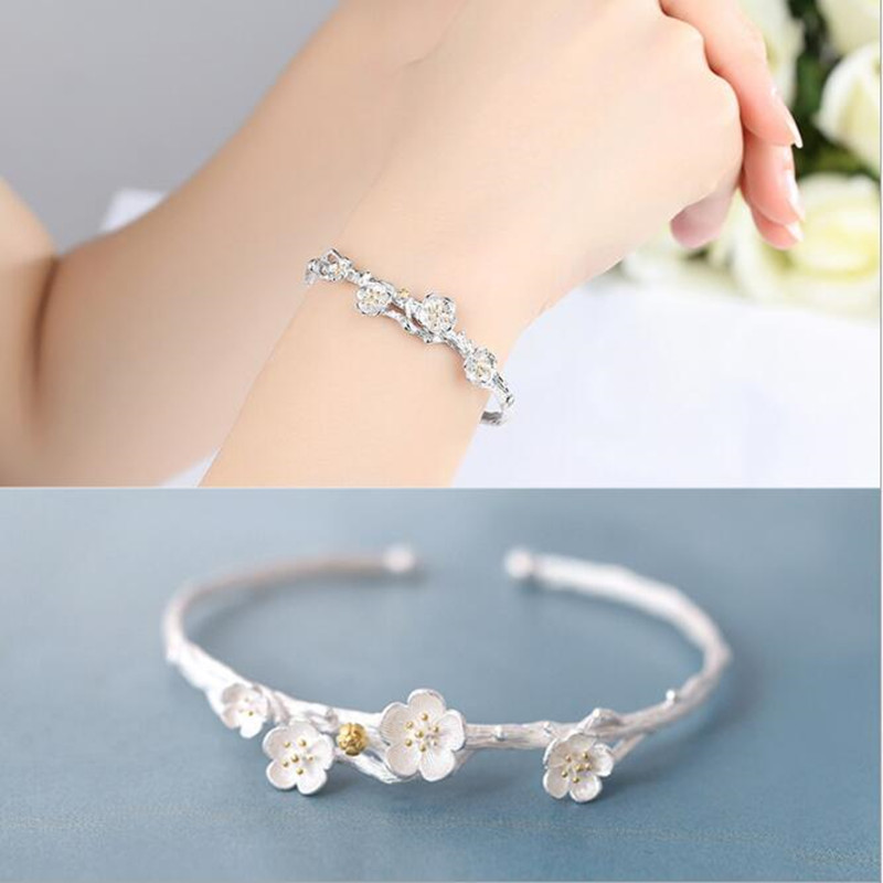Creative Fashion 925 Sterling Silver Jewelry Exquisite Cherry Flower Blossom Branches Allergy Opening Bracelet   SB14