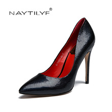 Women's High heels Pumps 2017 Casual Lace-Up Round Toe Spring/Autumn woman shoes Red Black Silver 36-41 Free shipping NAYTILYE