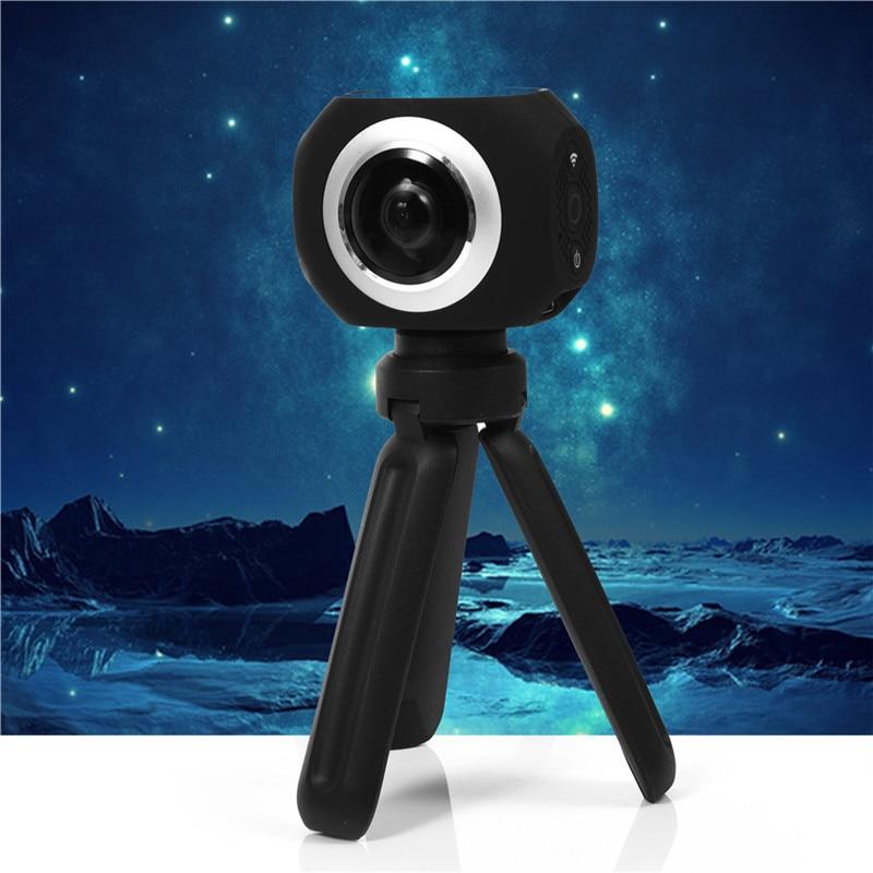 Amkov 360 Degrees Panoramic VR  360 Camera Dual Lens Panoramic Camera 4k HD Wifi 1 Screen Mini 4K HD VR Sports Camera AMK360s free shipping 2017 newest mini wifi sports camera r360 220degree eyefish lens