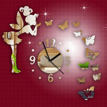 Diy Three-dimensional Butterfly Girl Mirror Wall Clock for home children Bedroom decoration DIY Wall Sticker