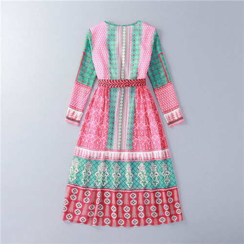 b9243e80543a 2016 new spring summer floral print long sleeve multi color casual chiffon  midi dress white belt Kate Middleton in Indian tour-in Dresses from Women's  ...