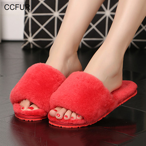 Image 3 - Womens Real Wool Fur Slippers Warm Slides Sheepskin Sliders Fur Slippers Home Indoor Winter Shoes S6038