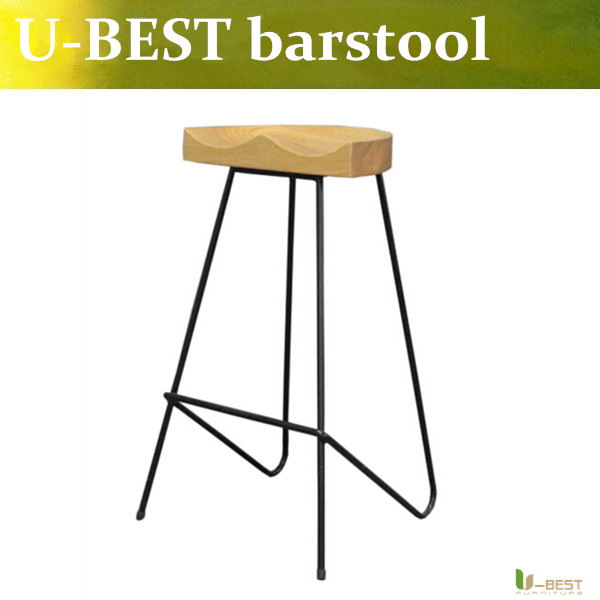 Free shipping U-BEST Replica High stool ,bent solid steel leg with solid wood seat,Home & Kitchen counter stool free shipping u best kitchen