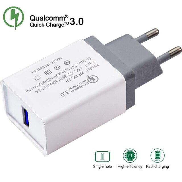 Cargador de teléfono móvil QC3.0 18 W cargador USB único para iPhone Samsung Huawei Xiaomi