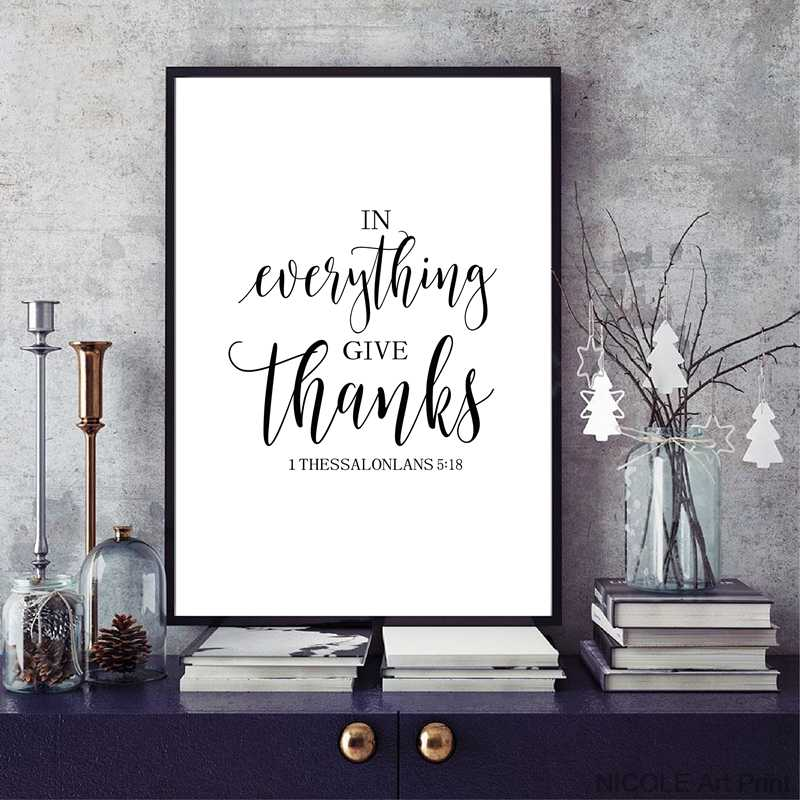 Bible Verse Thanksgiving Prints and Poster , Friendship Quotes Scripture  Canvas Painting Living Room Wall Art Home Decor