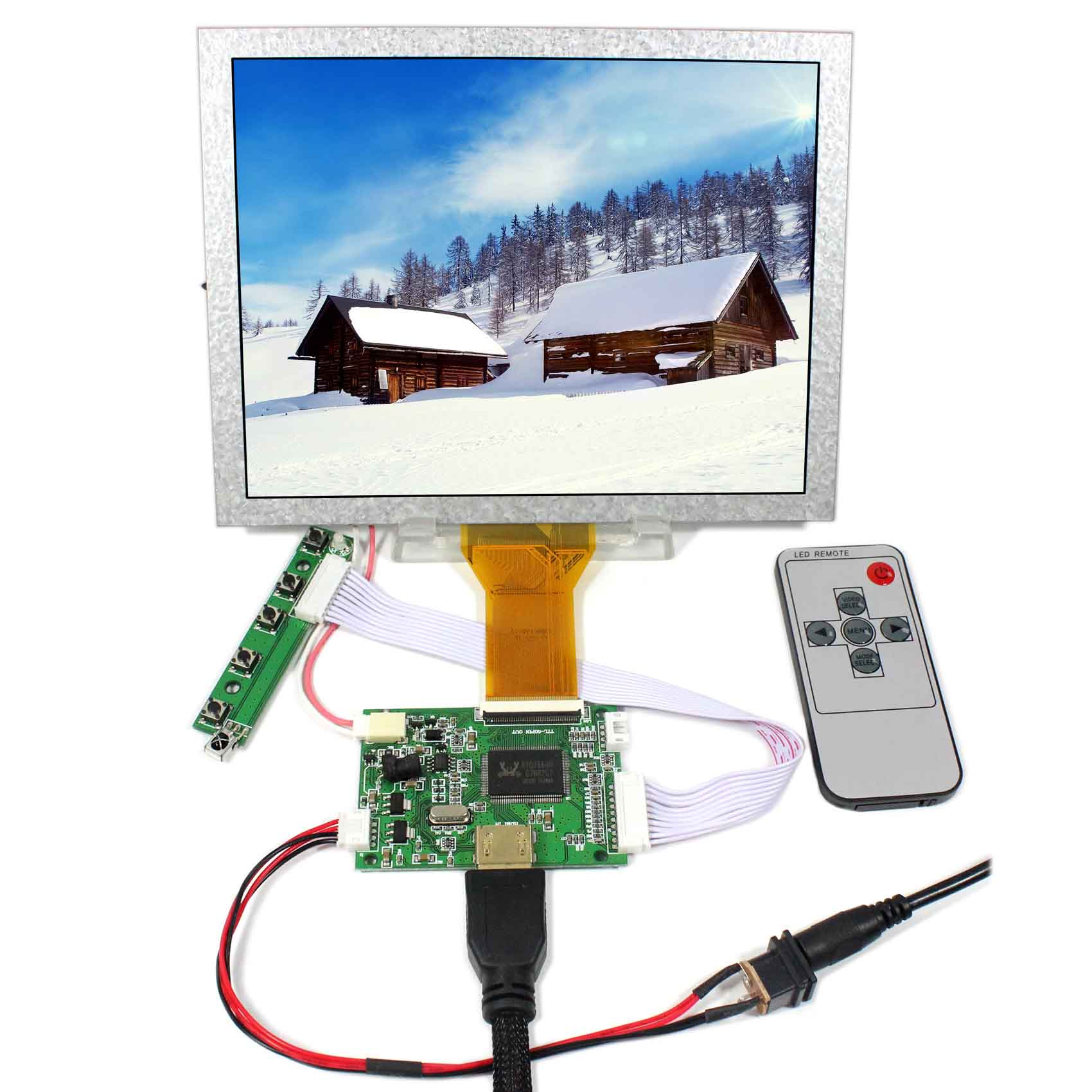 HDMI Input LCD Controller Board 8inch 800x600 EJ080NA-05A AT080TN52 LCD Screen hdmi vga av audio usb fpv controller board 8inch 800x600 ej080na 05a lcd panel screen model lcd for raspberry pi