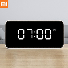 цена на Xiaomi Mijia Xiaoai Smart Alarm Clock Voice Broadcast Clock ABS Table Dersktop Clocks AutomaticTime Calibration Mi Home App