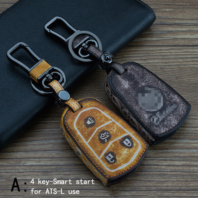 Genuine Leather CAR KEY CASE For CADILLAC ATS-L CTS SRX ATS XTS SLS Use Automobile Special-purpose CAR KEY HOLDER