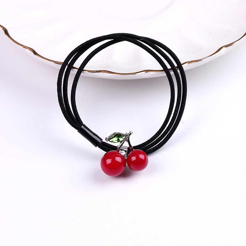 2017 New Women Elastic Hair Bands Cute Small Cherry Black Hair Ropes Girls Hair Accessories Rubber Bands Ponytail Holder Tie Gum клавиатура asus strix tactic pro cherry mx black black usb 90yh0081 b2ra00