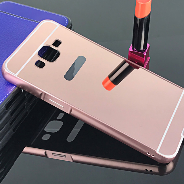 Luxury Rose Gold Mirror Case For Samsung Galaxy J2 Prime Metal Frame Cover