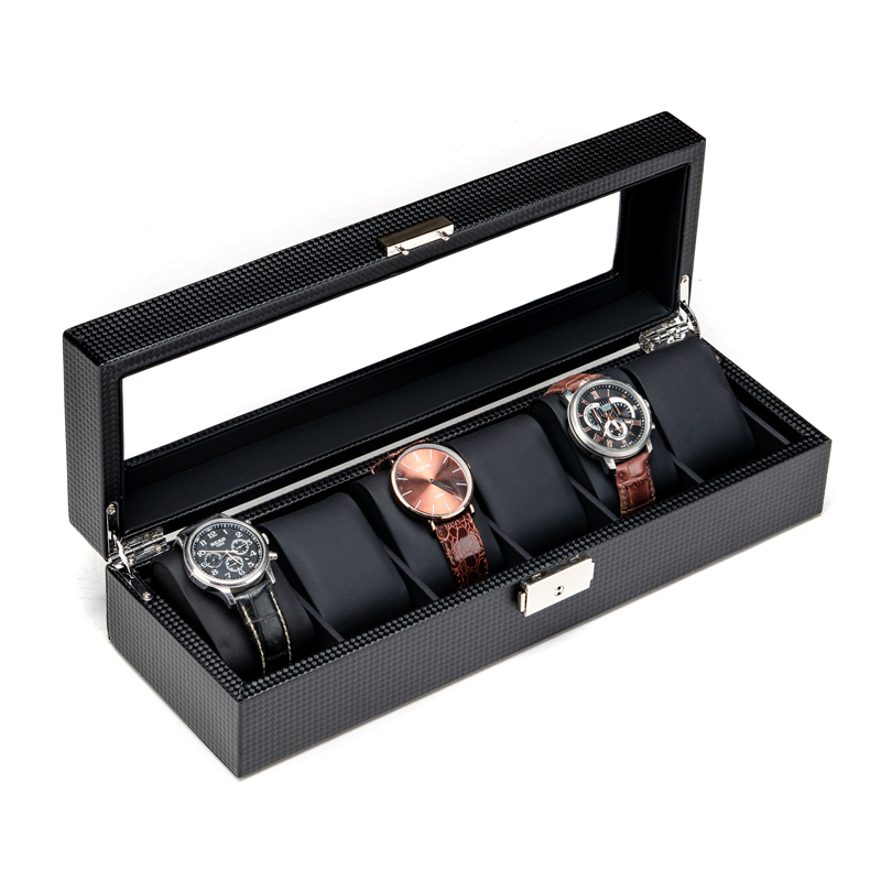 Carbon Fibre Leather Watch Storage Box New Black PU 10 Slots Mechanical Watch Display Box Cases With Lock Jewelry Gift Box B028