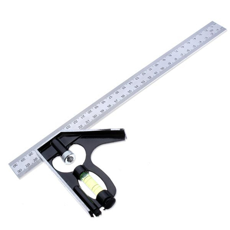 Durable 300mm 90 Dgree Stainless Woodworking Combination Ruler Horizontal Angle Square With Bubble Level
