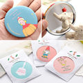 New Lady Makeup Mirror Cartoon Pattern Portable Compact Pocket Cosmetic Mirror