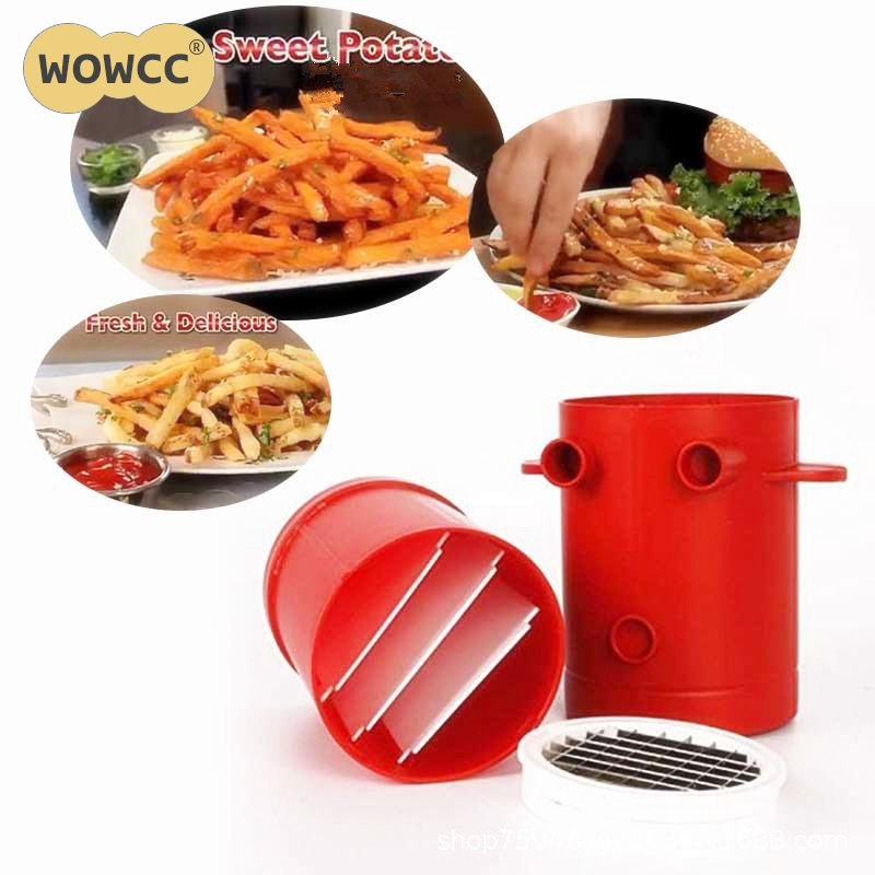 WOWCC Potatoes Maker Potato slicers French Fries Maker French Fries Cutter Machine Microwave Container 2-in-1 jiffy fries