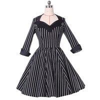 Sisjuly Vintage 1950s Black Elegant Dresses Summer V Neck Female Party Dress Knee Length Striped Zippers