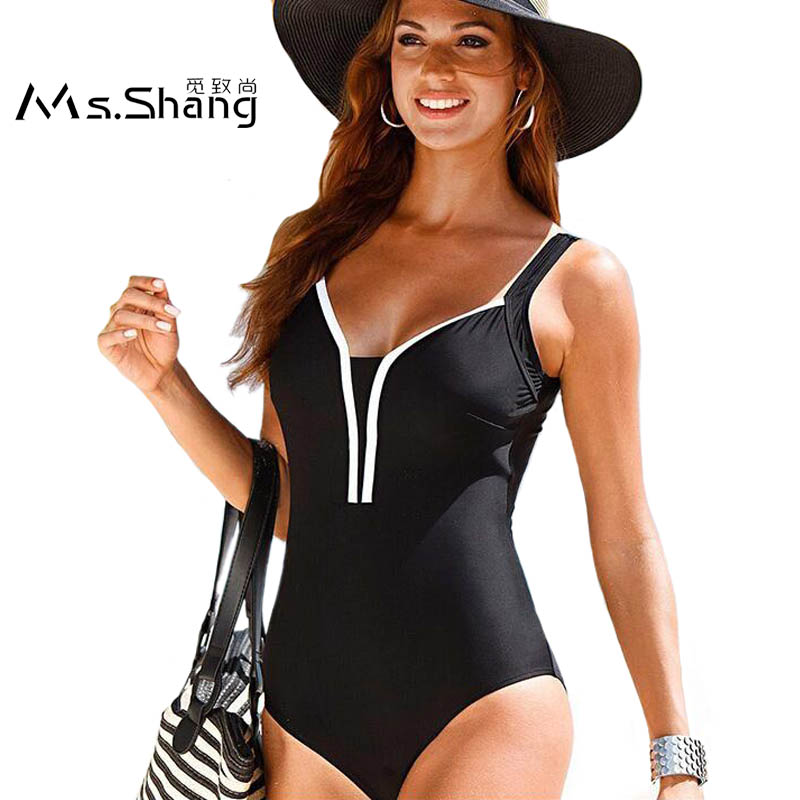 2017 One Piece Swimsuit Monokini Swimsuit Solid Plus Size Swimwear Women Push Up Vintage Swimming Suit Large Bathing Suit Black swimming suit women push up swimsuit one piece monokini swimwear big flower print costumes vintage stripe beachwear plus size