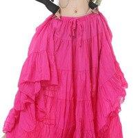 tribal belly dance costumes dancewear red pink purple orange coffee black women skirt long gypsy dress