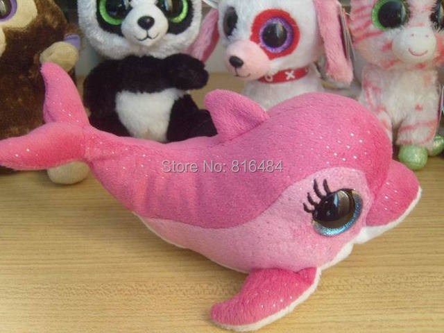5baa1f83529 TY beanie boos collection beanie stuff toy big eyes doll 6inch pink dolphin  surf