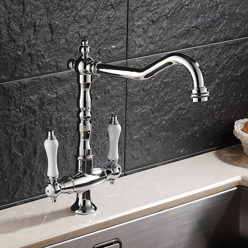Kitchen Faucet Chrome Brass High Quality Hot and Cold Kitchen Vegetable Pot Faucet Mixer Ssink Mixer tap Wash Basin Tap Torneira high quality chrome finish brass hot and cold square rotating kitchen sink basin mixer tap faucet