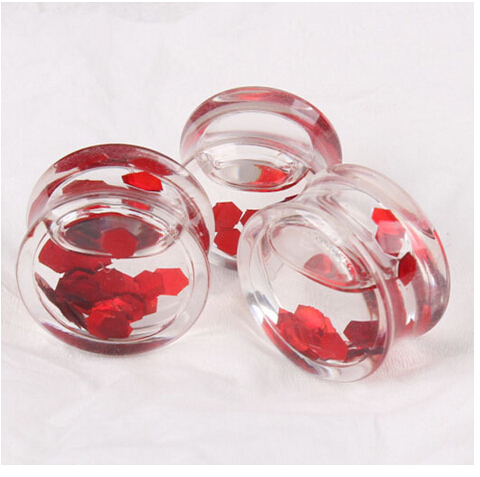 Transparent liquid Red discs Ear Plugs Flesh Tunnels,Acrylic Earring Hollow Expander Ear Gauges Kit,Piercing Jewelry