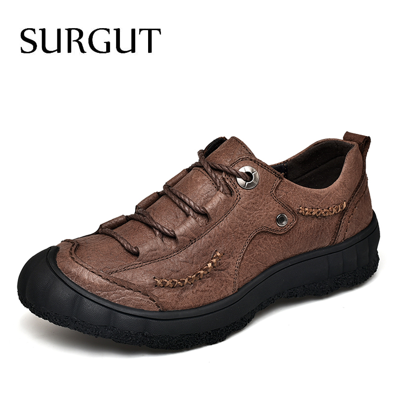 SURGUT New 2019 Men Casual Shoes Leather Summer Breathable Outdoor Driving Shoes Luxurious Brand Flat Shoes For Men Size 38~44SURGUT New 2019 Men Casual Shoes Leather Summer Breathable Outdoor Driving Shoes Luxurious Brand Flat Shoes For Men Size 38~44