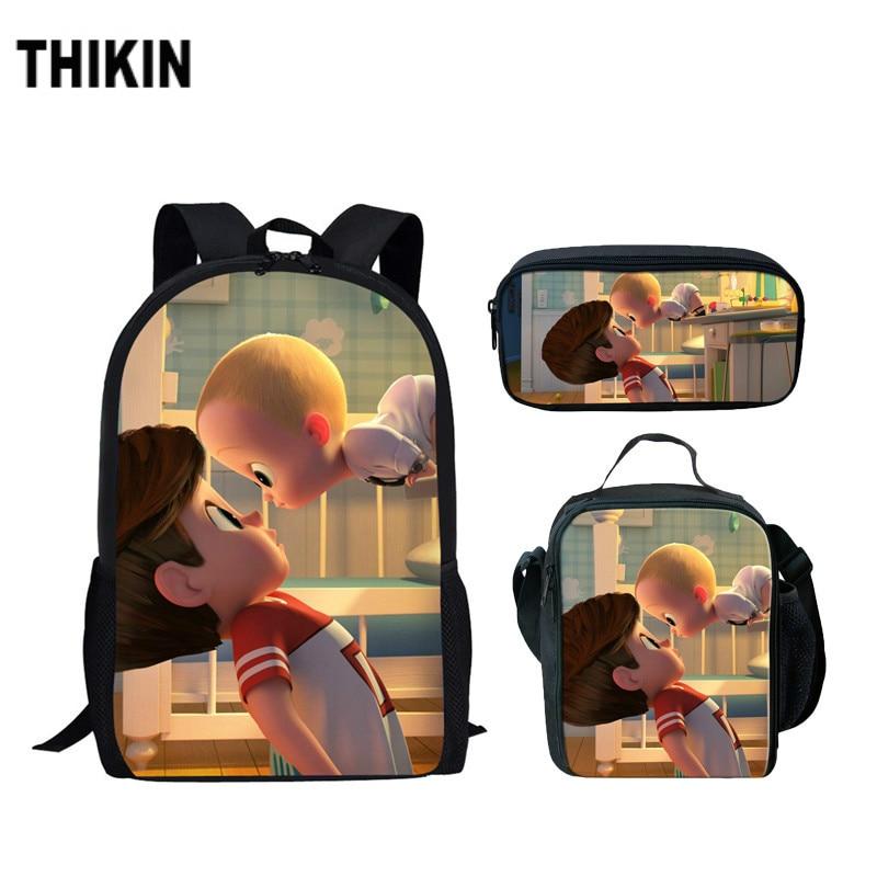 Us 6 99 32 Off Thikin Cartoon School Bags For Teenage Girl Cute Boss Baby 3d Print Casual School Backpack Children Bookbags Laptop Bag 3pcs Set In