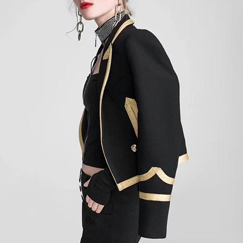 Manches Automne Getsring Courte Mince Costume Patchwork Bouton Unique Blazers Noir Femmes Tous Manteau Tops Match Veste Black Les Longues TTrxCEwq