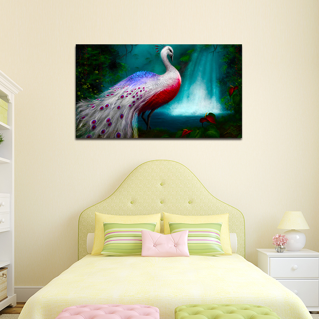 1PCS No Frame Colorful Peacock Canvas Modern Painting Waterfall ...