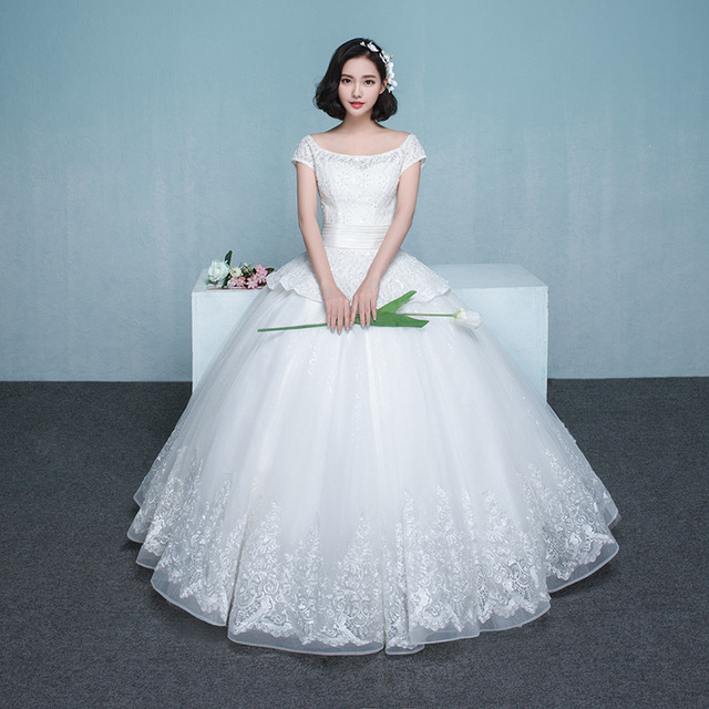 Luxury Ball Gown Lace Wedding Dress With Beads Scoop Neck Bride ...