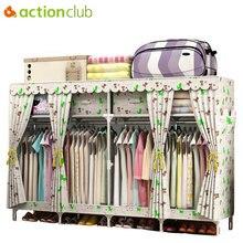Actionclub 200*45*170 cm duże tkaniny szafa dla rodziny ubrania wiszące szafka do przechowywania Oxford Closet zagęścić ze stali nierdzewnej rury meble