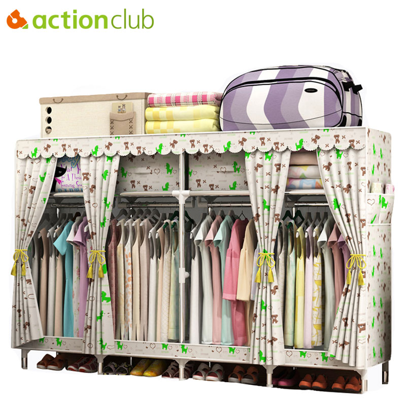 Actionclub 200*45*170cm Large Cloth Wardrobe for Family Clothing Hanging Storage Cabinet Oxford Closet Thicken Steel Pipe furnitActionclub 200*45*170cm Large Cloth Wardrobe for Family Clothing Hanging Storage Cabinet Oxford Closet Thicken Steel Pipe furnit