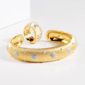 Image 3 - CMajor pulsera de plata de ley con estrellas brillantes, brazalete de lujo, Estilo Vintage, palaciego, 13mm de ancho, dos tonos