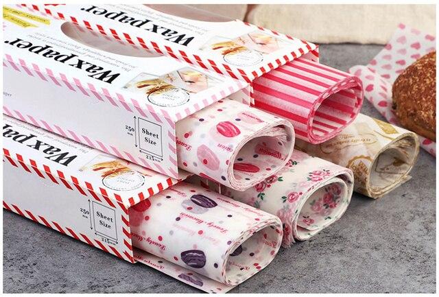 50 pz/lotto di Cera di Carta Food Grade Grasso di Cibo di Carta Wrapper Carta Da Imballaggio Per Il Pane Panino Hamburger Patatine Fritte Oilpaper Strumenti di Cottura