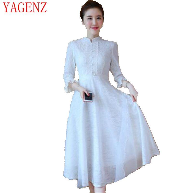 Abiti Eleganti Primavera 2018.2018 Vintage Lace Dress New Primavera Estate Donne Sottili Del