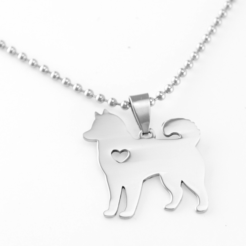 Cute Sled Dog Shape Pendants Stainless Steel Dog Necklaces Personalized Necklace Pendant Charms High Polish Wholesale 50pcs