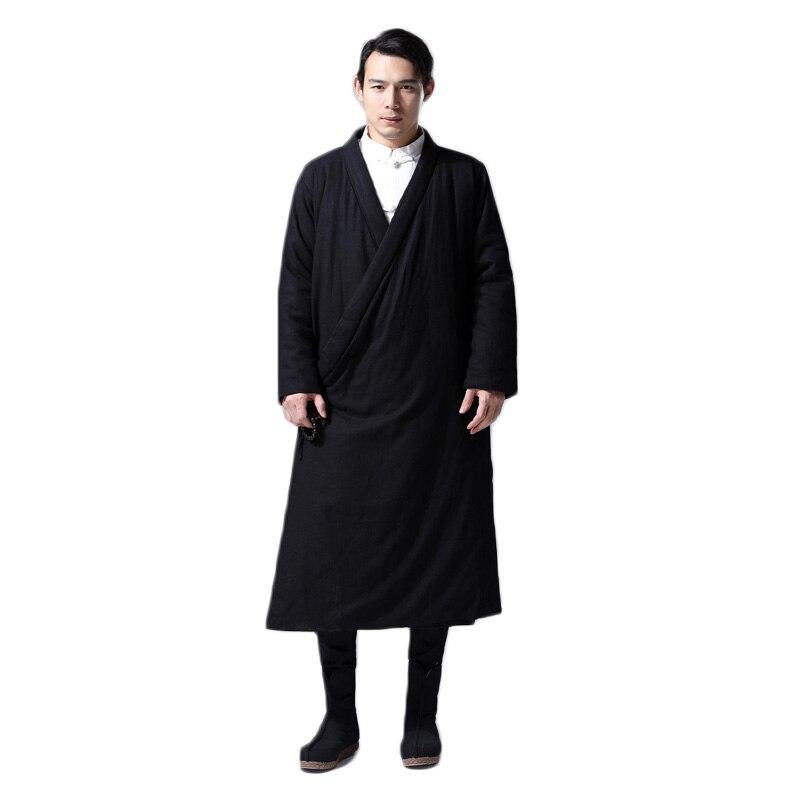 Hisenky hommes hiver Trenchcoat Style chinois Long coupe vent Hanfu Robes épais chaud manteau Vintage coton rembourré vestes 4 couleurs - 2
