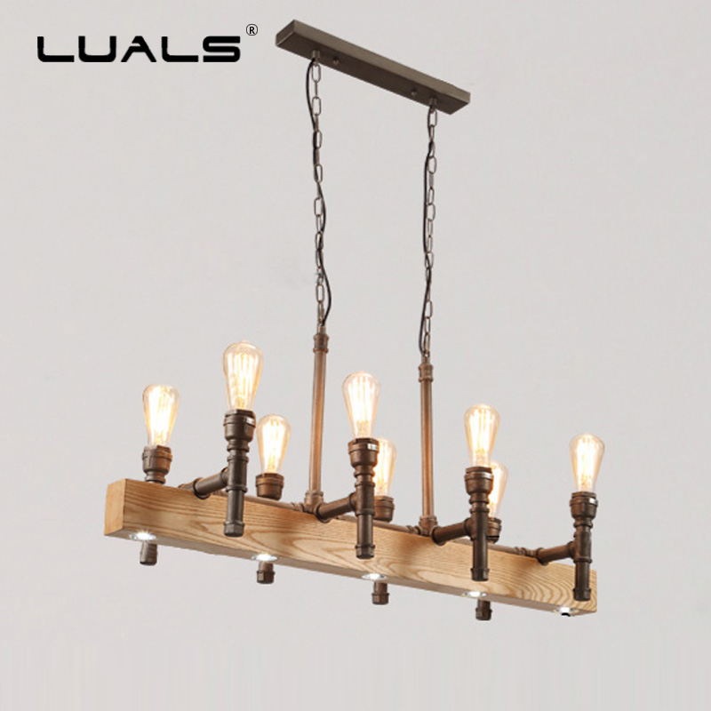Water Pipe Retro Lamps Loft Hanging Lamp Solid Wood Led Pendant Lights Industrial Style Pendant Lighting Edison Light Fixtures loft style metal water pipe lamp retro edison pendant light fixtures vintage industrial lighting dining room hanging lamp