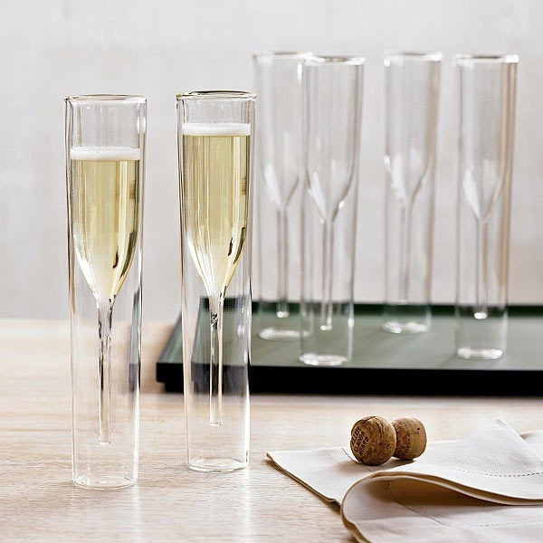 Tulip Personalized Wedding Champagne Glasses Creative Crystal Double Wall Glass Cup Flutes Party Decor