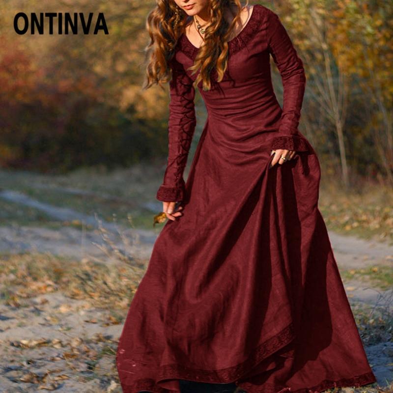 Для женщин осень весна Хэллоуин Vestidos плюс размеры Тонкий длинные халаты Ретро красный зеленый Рождество Вечеринка платья для жен